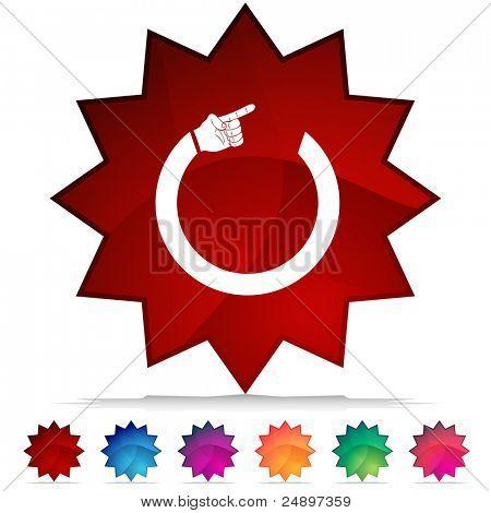 Establece una imagen de un botón brillante Circular brazo apuntando.