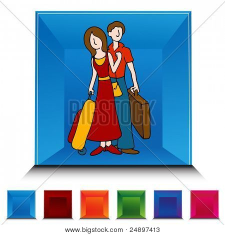 An image of a Traveling Couple gemstone button set.