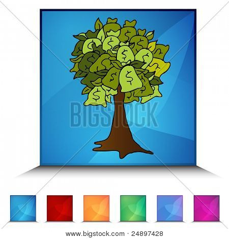An image of a money tree mosaic crystal button set.