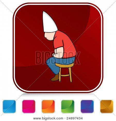 An image of a Dunce Hat Man on Stool button set.