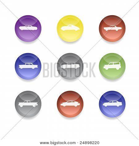 Iconos de colores coche