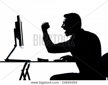 one caucasian business man computer computing happy portrait silhouette in studio isolated on white background
