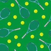 Realistic Detailed 3d Tennis Racket And Ball Seamless Pattern Background Equipment For Competition P poster