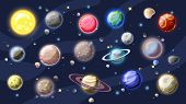 Solar System Vector Cartoon Collection. Planets, Moons Of Earth, Jupiter And Other Planet Of Solar S poster