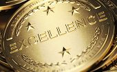 Close Up Of A Golden Medal With The Word Excellence Written In Relief. Concept Of Accomplishment. 3d poster