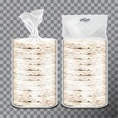Wheat, Rice Or Maize Toast In Clear Plastic Or Cellophane Film Pack. Vector Set Of Bread Pack Design poster