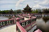 Ancient Siam Ancient City, Muang Boran Park, View Sala Of Ramayana On Water At The Bright Blue poster