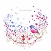 Watercolor Rounded Clipart Of Crimson And Blue Nature Elements. Clipart Consist Of Berries, Flowers, poster