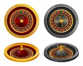Roulette Wheel Fortune Spin Game Mockup Set. Realistic Illustration Of 4 Roulette Wheel Fortune Spin poster