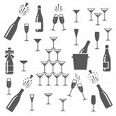 Champagne Icons. Cheering Opening Popping Bottles And Glasses Of Champagne, Cheers And Cheerful Sign poster