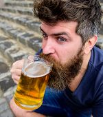 Guy Having Rest With Cold Draught Beer. Hipster On Excited Face Drinking Beer Outdoor. Friday Relax  poster
