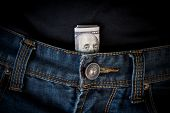 Us Dollar Cash In Jeans Pocket. 100 Dollar Bill In Slacks, In The Fly Of Trousers. poster