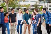 High School Students Socializing Outside College Buildings poster