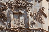picture of adam eve  - 14th Century bas relief on the facade of Orvieto Cathedral in Umbria - JPG