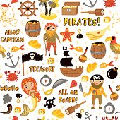 Pirates Vector Cartoon Seamless Pattern. Adventures And Pirate Party Background For Kindergarten. Ch poster
