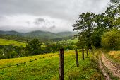Road Along The Fence In Rural Outskirts. Pasture Behind The Barbwire. Mountainous Countryside On A D poster