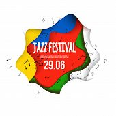 Jazz Festival Poster On 3d Abstract Background. Paper Cut Shapes. Vector Design Layout For Business  poster