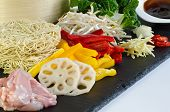 fresh ingredients for chicken chow mein poster