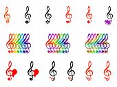 image of treble clef  - color treble clefs on a white background - JPG
