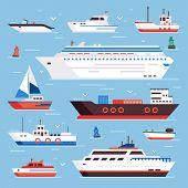 Sea Ships. Cartoon Boat Powerboat Cruise Liner Navy Shipping Ship Sailing Yacht Speed Floating Sea B poster
