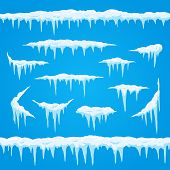 Cartoon Icicles Ice Cap. Winter Frosted Snow Frame For Snowfall Icy Blue And White Sign. Top Of Snow poster