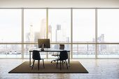 Modern Penthouse Office With Minimum Furniture, Windows Floor-to-ceiling, Wooden Floor And Cityview. poster