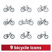 Bicycle Icons Set. Vector Collection Of Different Detailed Bike Signs. Bmx, Tandem, E-bike, City And poster