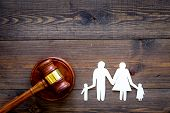 Family Law, Family Right Concept. Child-custody Concept. Family With Children Cutout Near Court Gave poster