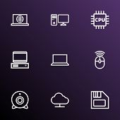Hardware Icons Line Style Set With Internet, Notebook, Pc And Other Pc  Elements. Isolated  Illustra poster