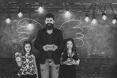 Best Teacher. Teacher And Girls Pupils In Classroom, Chalkboard On Background. Children And Teacher  poster