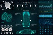 Car Service In The Style Of Hud, Cars Infographic Ui, Analysis And Diagnostics In The Hud Style, Fut poster