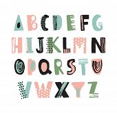 Funky Latin Font Or Childish English Alphabet Hand Drawn On White Background. Colorful Textured Lett poster