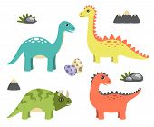 Dinosaurs Collection And Icons Of Mountain, Rock And Eggs, Triceratops And Sauropods Dinosaurs, Vect poster