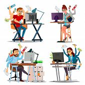 Multiple Tasks Business Concept Vector. Set Person. Many Hands Doing Tasks. Professional Occupation. poster