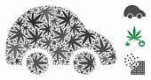 Car Mosaic Of Weed Leaves In Different Sizes And Color Tinges. Vector Flat Weed Objects Are Organize poster