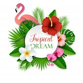 Tropical Dream Vector Paper Cut Illustration With Tropical Flowers, Palm Leaves And Pink Flamingo. T poster