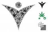 Futuristic Man Collage Of Weed Leaves In Variable Sizes And Color Tones. Vector Flat Weed Elements A poster