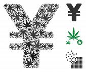 Japanese Yen Collage Of Marijuana Leaves In Various Sizes And Color Tints. Vector Flat Marijuana Lea poster