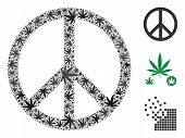 Peace Composition Of Cannabis Leaves In Different Sizes And Color Shades. Vector Flat Ganja Objects  poster
