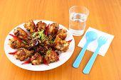 Spicy herb fried chicken poster