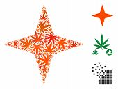 Space Star Composition Of Weed Leaves In Various Sizes And Color Tints. Vector Flat Weed Items Are O poster