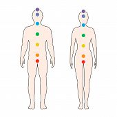 Chakras On The Human Body. Silhouette Of A Man And A Woman With Seven Colored Sacred Points. Vector  poster