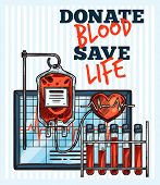 Blood Donation Sketch Design For World Blood Donor Day. Vector Lettering And Medical Items Of Cardio poster