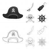 Pirate, Bandit, Cap, Hook .pirates Set Collection Icons In Outline, Monochrome Style Vector Symbol S poster