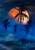 Red Moon Or Blood Moon With Many Stars And Clouds. Beautiful Night Landscape Of Sky With Super Moon  poster