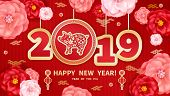 Pig Is A Symbol Of The 2019 Chinese New Year. Greeting Card In Oriental Style. Rose Flowers, Decorat poster