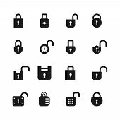 Open And Closed Padlock Icons. Lock, Security And Password Vector Isolated Symbols. Open Lock, Safet poster