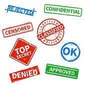 Top Secret, Rejected, Approved, Classified Business Rubber Stamps, Office Cachet With Distressed Tex poster