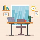 The Workplace Interior Cartoon Design With Furniture, Computer, Books. Freelancer, Designer Office W poster