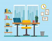 The Workplace Interior Cartoon Design. Freelancer, Designer Office Workstation. Business Concept Fla poster